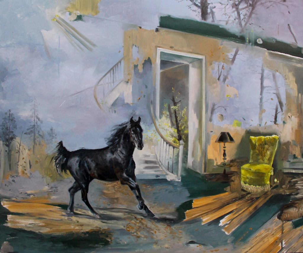 Magdalena Lamri • And the third horse • Huile sur toile • 60 x 50 cm • 2017