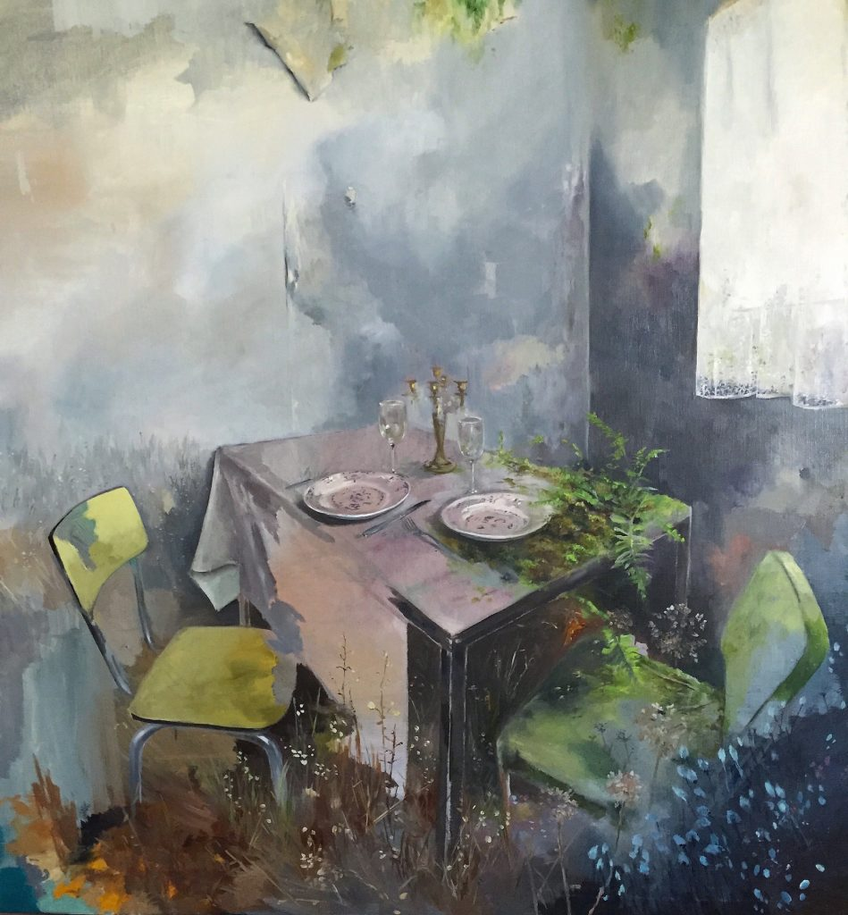 Magdalena Lamri • The Dinner • Huile sur toile • 100 x 100 cm • 2017